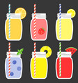 fruit juice in jar vector image vector image