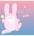 Greeting card with Cute Bunny and Hand writing vector image vector image