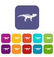 hadrosaurid dinosaur icons set flat vector image vector image
