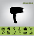hair dryer sign black icon at gray vector image vector image