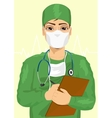 handsome male doctor taking notes vector image vector image