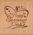 happy environment day 5 june typographic design vector image vector image