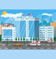 hospital building medical background vector image vector image