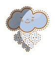 kawaii tranquil cloud raining icon vector image vector image