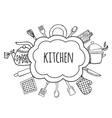 Kitchen tools sketch bubbles vector image vector image