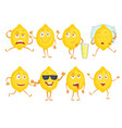lemon funny characters fresh fruits emotions vector image