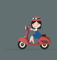 little girl riding red motorcycle flat design vector image vector image
