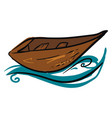 longboat on water on white background vector image vector image