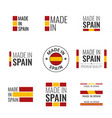 made in spain labels set spanish product emblem vector image