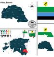 map of polva estonia vector image vector image