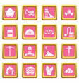 miner icons pink vector image vector image