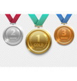 olympic gold silver and bronze award medals vector image vector image
