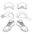 Outlined sneakers baseball cap set vector image vector image