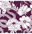Pattern with snake and flowers vector image vector image