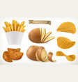 potato wedges and fry chips vegetable 3d icon set vector image vector image