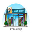 print shop building facade in thin line exterior vector image