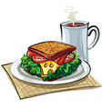 sandwich with sausage vector image vector image