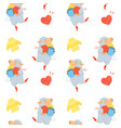 seamless pattern with yarn and funny dancing sheep vector image