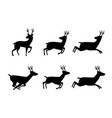 set deer icon in silhouette style vector image vector image