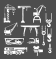 Set icons of crane lifts and winches vector image vector image