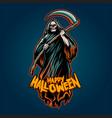 skull grim reaper halloween pumpkins vector image vector image