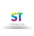 st s t colorful letter origami triangles design vector image