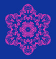 symmetry design snowflake or mandala pink on blue vector image vector image