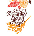 thanksgiving calligraphy text with flowers vector image vector image