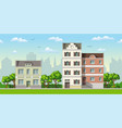 three classic family houses with trees vector image
