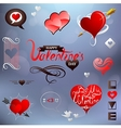 Valentines related design elements set vector image vector image