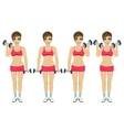 Young woman doing dumbbell exercises vector image vector image