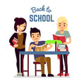 back to school concept with reading students vector image