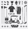 Golf Equipment Icons and Silhouettes vector image