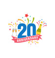 anniversary twenty years number vector image