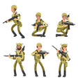 army cartoon man soldiers in uniform military vector image