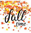 autumn time lettering banner seasonal fall poster vector image vector image