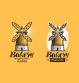 bakery bread pastry logo or label mill vector image vector image