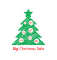 big christmas sale with scribble fir tree vector image vector image