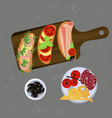 bruschetta on the grey background vector image vector image