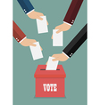 Businessmen putting papers in the ballot box vector image