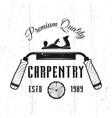 carpentry service monochrome emblem vector image