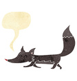 cartoon little wolf with speech bubble vector image vector image