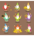 Classic Garden Gnomes In Colorful Outfits Set Of vector image vector image
