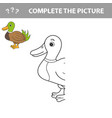 coloring the cute cartoon duck educational game vector image vector image