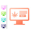 coral computer monitor and medical marijuana or vector image vector image