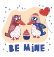 crazy love valentine day cartoon animal set vector image vector image