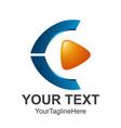 creative abstract 3d media play button logo vector image vector image