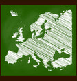 europe map chalk on blackboard school background vector image