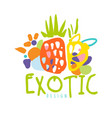 exotic logo design with tropical fruits colorful vector image vector image