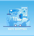 flat banner safe shopping pay credit card vector image